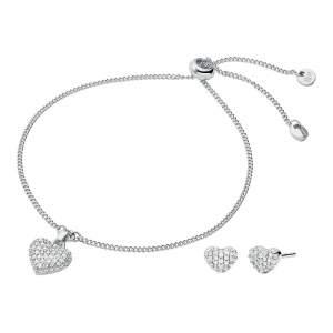 Michael Kors parure MKC1258AN040 - Gioielleria Casavola Noci - idee regalo donne compleanno - argento - orecchini e bracciale cuore